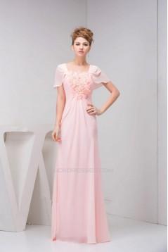 Sheath/Column Cap Sleeve Pink Long Chiffon Prom Evening Formal Dresses ED010918