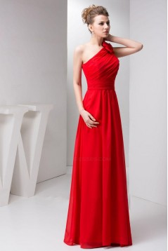 A-Line One-Shoulder Red Long Chiffon Prom Evening Formal Bridesmaid Dresses ED010919