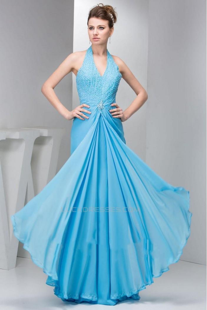 Sheath/Column Halter Beaded Blue Long Chiffon Prom Evening Formal Dresses ED010920