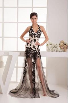 Sheath Halter Black Appliques Long Prom Evening Formal Dresses ED010922