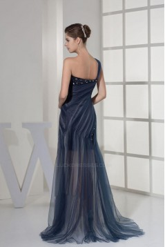 Beaded One-Shoulder Prom Evening Formal Dresses ED010923