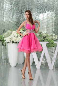 Hot Pink Short Beaded Prom Cocktail Dresses ED010925