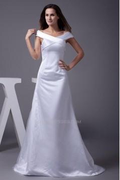 A-Line Off-the-Shoulder Long White Prom Evening Formal Dresses ED010928