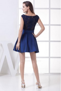 Short/Mini Bateau Beaded Applique Satin Blue Prom Evening Formal Dresses ED010929