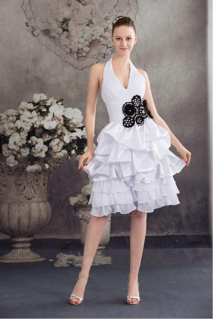 A-Line Halter Short White Prom Evening Formal Dresses ED010930