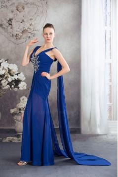 Sheath V-Neck Beaded Blue Long Chiffon Prom Evening Formal Dresses ED010931