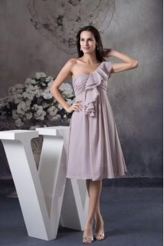 Empire One-Shoulder Short Chiffon Prom Evening Formal Dresses ED010932