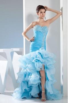 Trumpet/Mermaid Sweetheart Ruffle Beaded Long Blue Prom Evening Formal Dresses ED010934