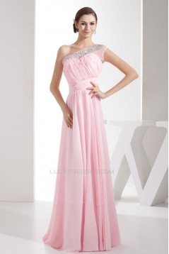 A-Line One-Shoulder Beaded Pink Long Chiffon Prom Evening Formal Dresses ED010936