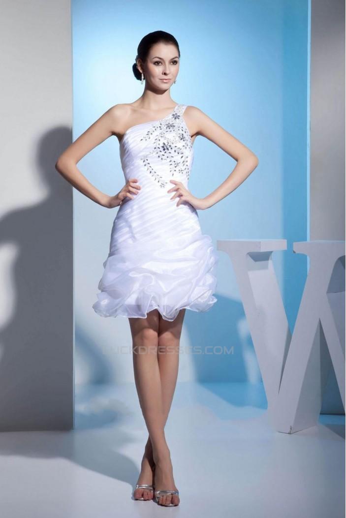 Short White Beaded Prom Evening Formal Dresses ED010937