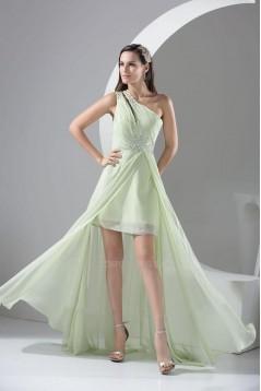 Beaded One-Shoulder Long Chiffon Prom Evening Formal Dresses ED010939