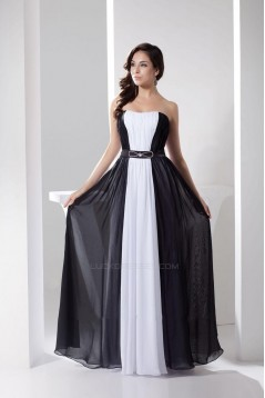 A-Line Strapless Black White Beaded Long Chiffon Prom Evening Formal Dresses ED010940