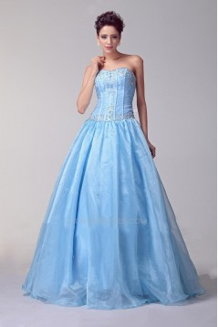 A-Line Strapless Beaded Long Blue Prom Evening Formal Dresses ED010941