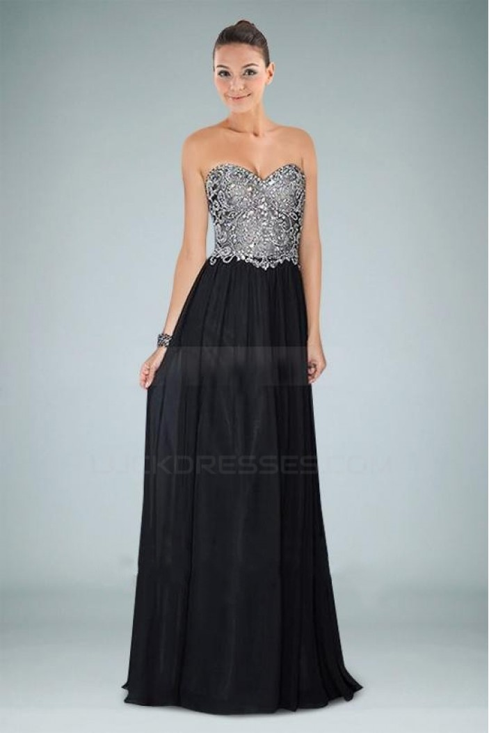 Sheath/Column Beaded Sweetheart Long Black Chiffon Prom Evening Formal Dresses ED010942
