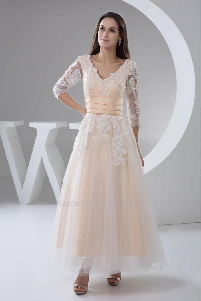 A-Line V-Neck Half Sleeve Applique Tulle Prom Evening Formal Dresses ED010943