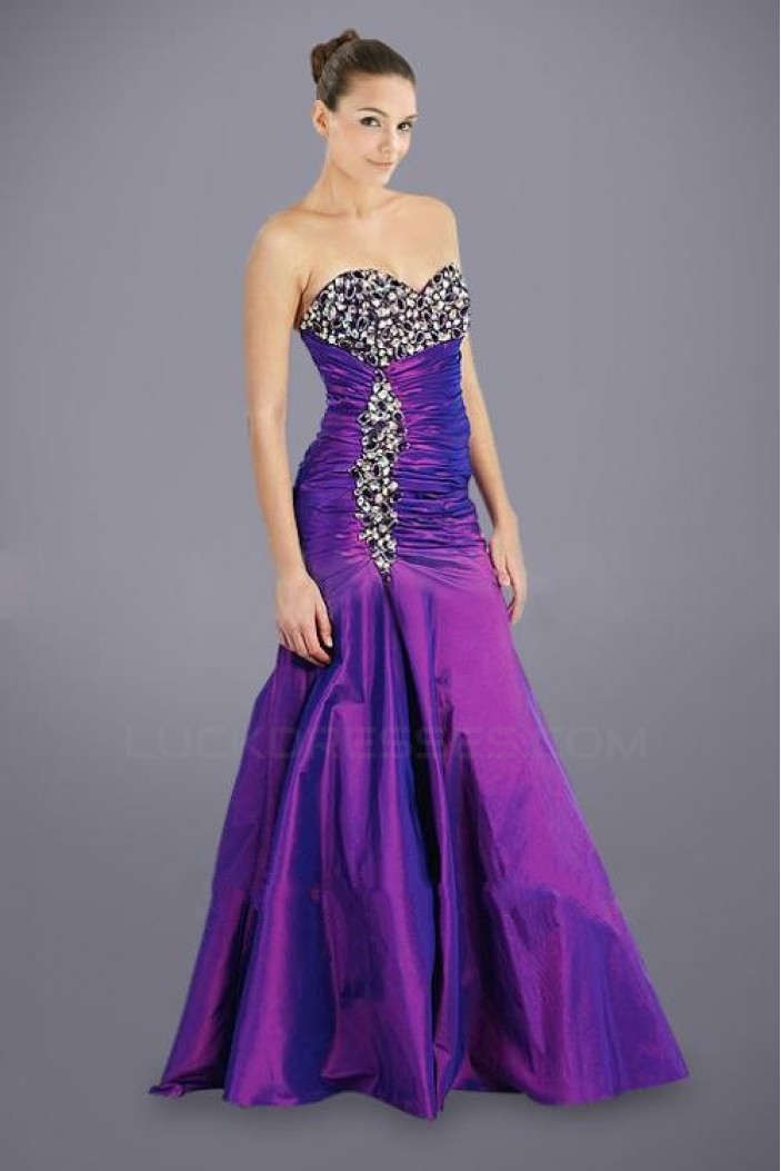 Beaded Long Purple Taffeta Sweetheart Prom Evening Formal Dresses ED010946