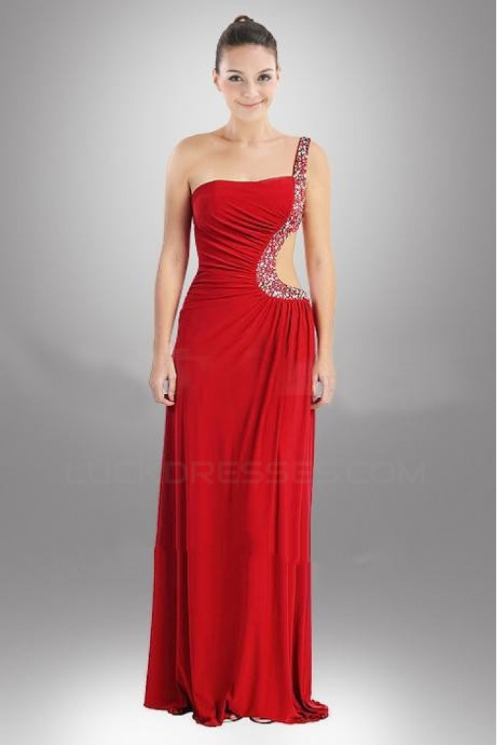 Sheath/Column One-Shoulder Beaded Red Long Chiffon Prom Evening Formal Dresses ED010947