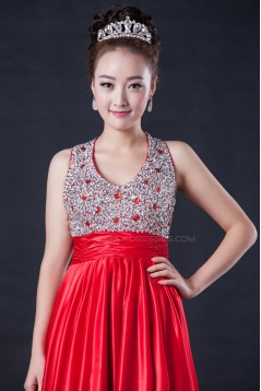 A-Line Beaded Long Red Prom Evening Formal Dresses ED010951