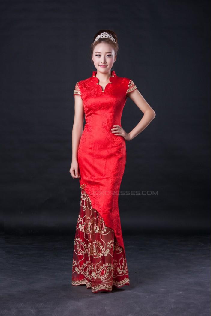 Trumpet/Mermaid Cap Sleeve Long Red Prom Evening Formal Dresses ED010952
