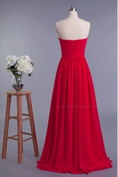 A-Line Sweetheart Long Red Chiffon Prom Evening Formal Dresses ED010953