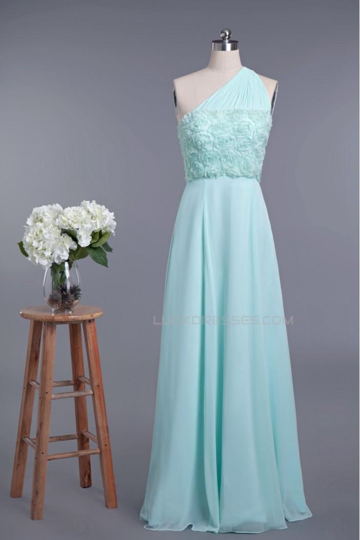 A-Line One-Shoulder Long Chiffon Prom Evening Formal Dresses ED010954