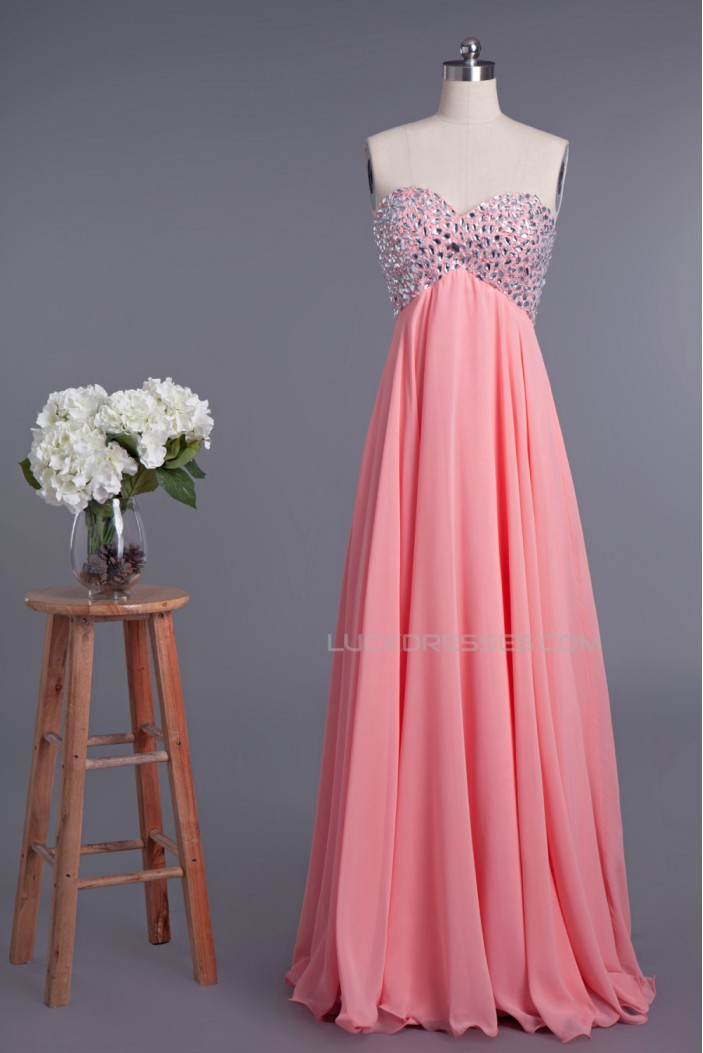 Empire Sweetheart Beaded Long Chiffon Prom Evening Formal Dresses Maternity Evening Dresses ED010955