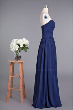 A-Line Sweetheart Navy Blue Long Chiffon Prom Evening Formal Dresses ED010956