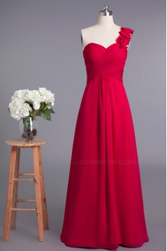 A-Line One-Shoulder Long Chiffon Prom Evening Formal Dresses Bridesmaid Dresses ED010957