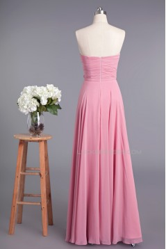 A-Line Sweetheart Long Pink Chiffon Prom Evening Formal Dresses ED010958
