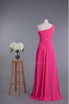A-Line One-Shoulder Beaded Long Chiffon Prom Evening Formal Dresses ED010960