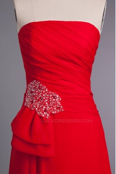 A-Line Strapless Beaded Long Red Chiffon Prom Evening Formal Dresses ED010962