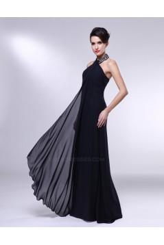 A-Line Halter Beaded Long Chiffon Prom Evening Formal Dresses ED010965