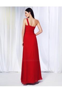 Sheath/Column One-Shoulder Beaded Long Red Chiffon Prom Evening Formal Dresses ED010966