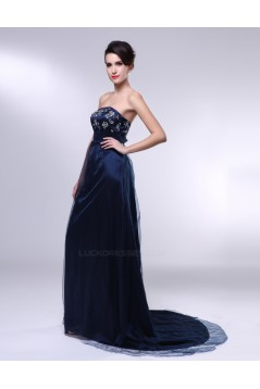 A-Line Strapless Navy Blue Long Prom Evening Formal Dresses ED010967