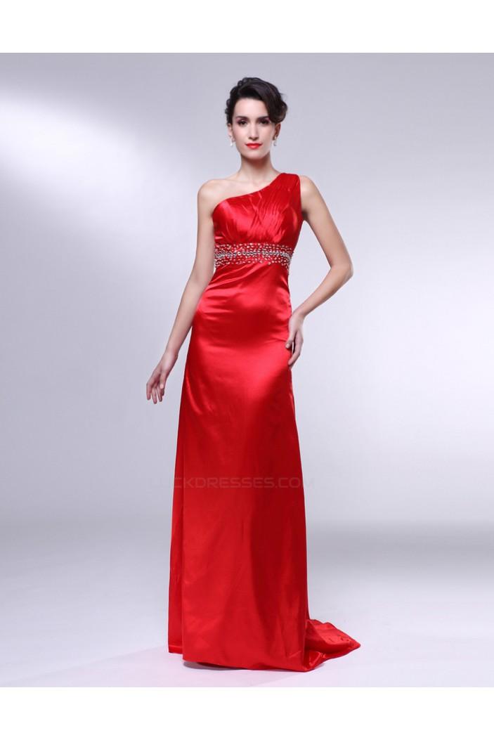 Sheath One-Shoulder Beaded Long Red Prom Evening Formal Dresses ED010968