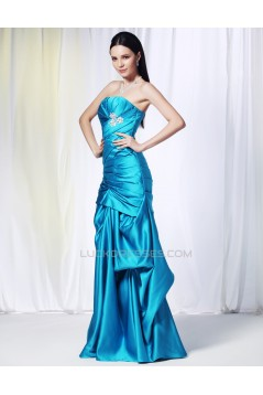 Strapless Long Blue Prom Evening Formal Dresses ED010969