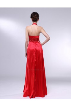 A-Line Halter Beaded Pleated Long Red Prom Evening Formal Dresses ED010970