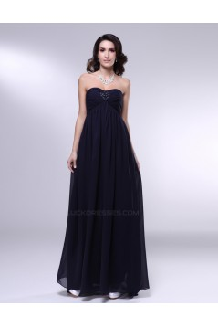 Empire Strapless Beaded Navy Blue Long Chiffon Prom Evening Formal Dresses Maternity Dresses ED010971