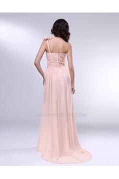 A-Line One-Shoulder Long Chiffon Prom Evening Formal Dresses ED010972