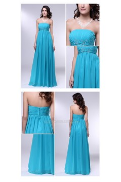 Empire Strapless Long Blue Chiffon Prom Evening Formal Dresses Maternity Dresses ED010973