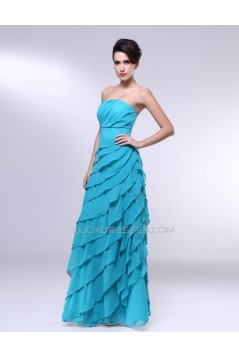 A-Line Strapless Beaded Long Blue Chiffon Prom Evening Formal Dresses ED010974