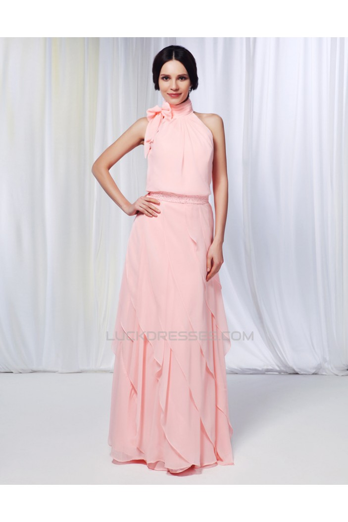 Sheath/Column High-Neck Beaded Long Pink Chiffon Prom Evening Formal Dresses ED010976