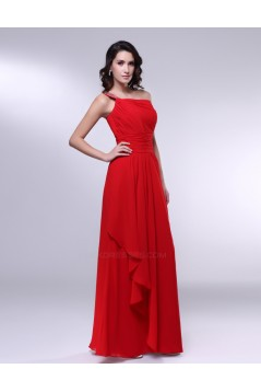 A-Line One-Shoulder Beaded Long Red Chiffon Prom Evening Formal Dresses ED010977