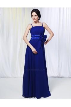 A-Line Spaghetti Strap Long Blue Chiffon Prom Evening Formal Dresses Bridesmaid Dresses ED010978