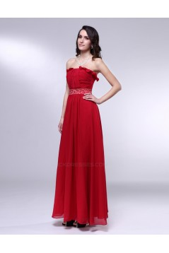 A-Line Strapless Beaded Long Red Chiffon Prom Evening Formal Dresses ED010979