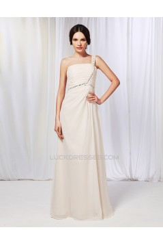A-Line One-Shoulder Beaded Long Chiffon Prom Evening Formal Dresses ED010980