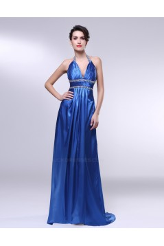 A-Line Halter Beaded Long Blue Prom Evening Formal Dresses ED010981
