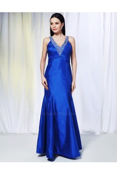 Trumpet/Mermaid V-Neck Beaded Long Blue Prom Evening Formal Dresses ED010982