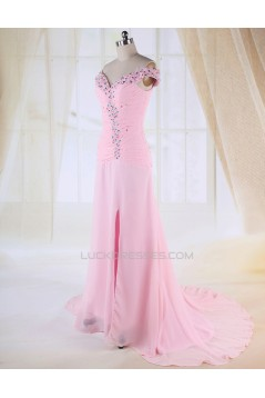Sheath Split-Front Off-the-Shoulder Beaded Long Pink Chiffon Prom Evening Formal Dresses ED010983