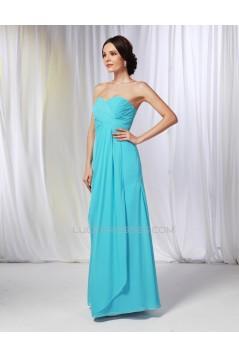 A-Line Sweetheart Long Blue Chiffon Prom Evening Formal Dresses Bridesmaid Dresses ED010984